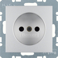 Розетка бес з/к, со шторками, алюминиевый, матовый 16А/250В S.1 Berker 6167331404