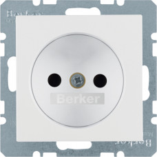 Розетка бес з/к, зі шторками, пол.білизна, матовий, 16А/250В S.1 Berker 6167331909