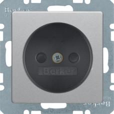 Розетка без з/к, зі шторками, 16А/250В, алюмінієвий, бархатний лак, Q.х Berker 6167336084