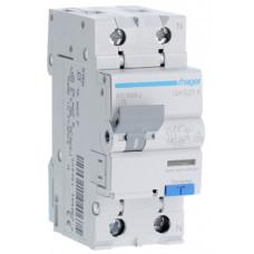 Дифференциальный автоматический выключатель 1+N 6kA C-16A 10mA A 2м Hager AC966J