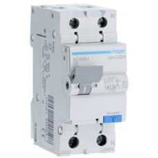 Дифференциальный автоматический выключатель 1+N 4.5kA C-6A 30mA AC 2м Hager AD856J