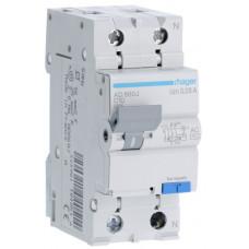 Дифференциальный автоматический выключатель 1+N 4.5kA C-10A 30mA AC 2м Hager AD860J