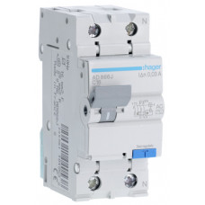 Дифференциальный автоматический выключатель 1+N 4.5kA C-16A 30mA AC 2м Hager AD866J