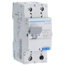 Дифференциальный автоматический выключатель 1+N 4.5kA C-25A 30mA AC 2м Hager AD875J