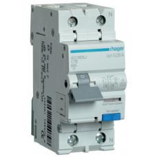 Дифференциальный автоматический выключатель 1+N 6kA C-16A 30mA A 2м Hager AD966J