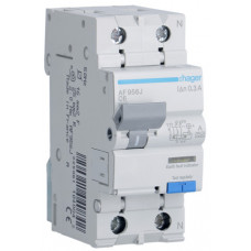 Дифференциальный автоматический выключатель 1+N 6kA C-6A 300mA A 2м Hager AF956J