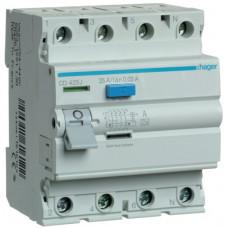 Устройство защитного отключения УЗО 4x25 A, 30 mA, A, 4м Hager CD425J