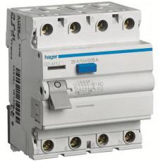 Устройство защитного отключения УЗО 4x63 A, 30 mA, A, 4м Hager CD463J