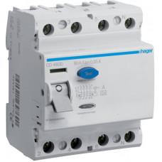 Устройство защитного отключения УЗО 4x80 A, 30 mA, A, 4м Hager CD480D