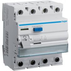 Устройство защитного отключения УЗО 4x25 A, 500 mA, A, 4м Hager CGA425D