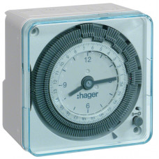 Таймер аналоговий добовий 16А, 1 перем.контакт, без резерва ходу, Hager EH710