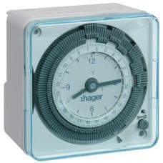 Таймер аналоговий добовий 16А, 1 перем.контакт, запас ходу 200 год., Hager EH711