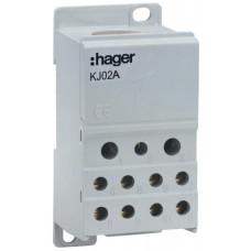 Блок распределительный In=250А, ввод 1х95мм2, выход 2х25х16 и 4х10мм2, Hager KJ02A