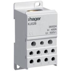 Блок распределительный In=400А, ввод 1х150мм2, выход 2х25х16 и 4х10мм2, Hager KJ02B