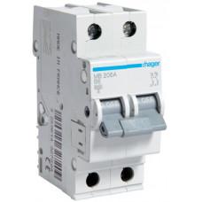 Автоматический выключатель In=6 А, 2п, В, 6 kA, 2м Hager MB206A