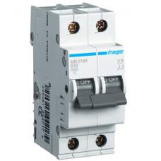 Автоматический выключатель In=13 А, 2п, В, 6 kA, 2м Hager MB213A