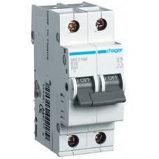 Автоматический выключатель In=16А, 2п, В, 6 kA, 2м Hager MB216A