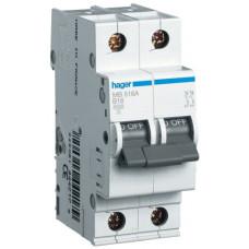 Автоматический выключатель In=6 А, 1+N, В, 6 kA, 2м Hager MB506A