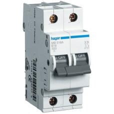 Автоматический выключатель In=13 А, 1+N, В, 6 kA, 2м Hager MB513A
