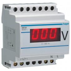 Вольтметр цифровий 0-500В, 4м Hager SM501
