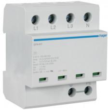 Розрядник клас 1, моноблок, з індикацією, TN-S/TT, 4п, 50kA/1.5kV Hager SPA401