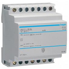 Трансформатор с установкой на DIN-рейку, 230В/24 В (1,04А), 230В/12 В (2,08А), 4м Hager ST312