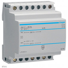 Трансформатор с установкой на DIN-рейку, 230В/24 В (0,67А), 230В/12 В (1,33А), 4м Hager ST313
