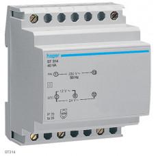 Трансформатор с установкой на DIN-рейку, 230В/24 В (1,67А), 230В/12 В (3,33А), 4м Hager ST314