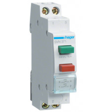 Выключатель двухкнопочный возвратный кнопка зеленая 1НО и красная 1НО, 230В/16А, 1м Hager SVN371