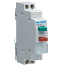 Выключатель двухкнопочный возвратный кнопка зеленая 1НО и красная 1НЗ, 230В/16А, 1м Hager SVN391