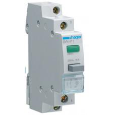 Выключатель кнопочный возвратный с зеленым индикатором 230В/16А, 1НО, 1м Hager SVN411