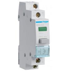 Вимикач кнопковий з зеленим індикатором 230В/16А, 1НВ, 1м Hager SVN413