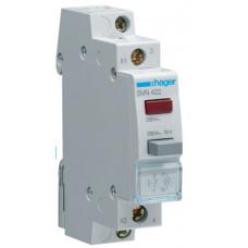 Выключатель кнопочный возвратный с красным индикатором 230В/16А, 1НЗ, 1м Hager SVN422