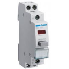 Выключатель кнопочный возвратный с красным индикатором 230В/16А, 2НО, 1м Hager SVN432