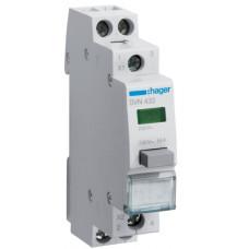 Выключатель кнопочный с зеленым индикатором 230В/16А, 2НО, 1м Hager SVN433