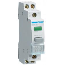 Выключатель кнопочный возвратный с зеленым индикатором 230В/16А, 2НЗ, 1м Hager SVN441