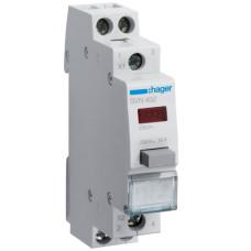 Выключатель кнопочный возвратный с красным индикатором 230В/16А, 1НО+1НЗ, 1м Hager SVN452