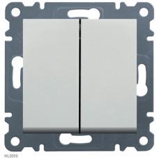 Выключатель проходной двухклавишный, белый, Lumina-2 Hager WL0050