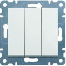 Выключатель трехклавишный 10АХ/230В, белый, Lumina-2 Hager WL0070
