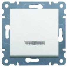 Выключатель проходной одноклавишный с подсветкой, белый, Lumina-2 Hager WL0220
