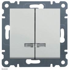 Выключатель двухклавишный с подсветкой, белый, Lumina-2 Hager WL0240