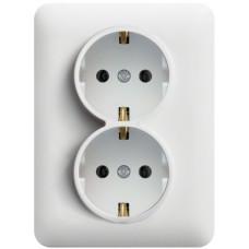 Розетка с з/к двойная c защ.контаков, белая, 16А/230В, Lumina-2 Hager WL1250