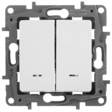Вимикач двохклавішний з підсвіткою, Білий, Legrand Etika 672204
