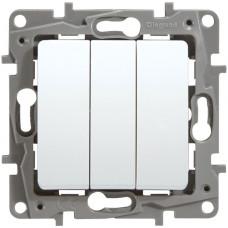 Вимикач трьохклавішний з гвинт затисками, Білий, Legrand Etika 672213