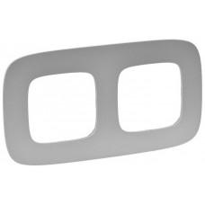 Рамка 2 постова, пластик, Алюміній, Valena Allure Legrand 754392