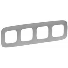 Рамка 4 постова, пластик, Алюміній, Valena Allure Legrand 754394