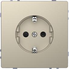 Розетка силовая 2К+З, 16А, 250В, безвинт.зажим, со шторками, Сахара, пластик, D-Life Merten MTN2300-6033