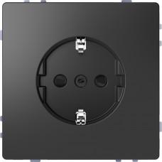 Розетка силовая 2К+З, 16А, 250В, безвинт.зажим, со шторками, Антрацит, пластик, D-Life Merten MTN2300-6034