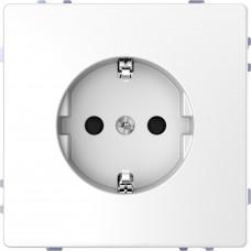 Розетка силовая 2К+З, 16А, 250В, безвинт.зажим, со шторками, Белый лотос, пластик, D-Life Merten MTN2300-6035