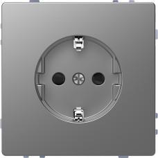 Розетка силова 2К+З, 16А, 250В, безгвинт.затиск, зі шторками, Нержавіючая сталь, пластик, D-Life Merten MTN2300-6036